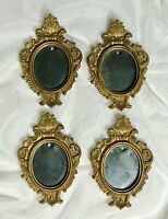 Set/4 Small Oval Gold Resin Picture Frames No. 626 Miniature Lot
