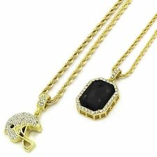 """Mens 14k Gold Plated Sm Football Helmet & Blk Ruby w Rope Chain (3mm24""""&4mm30"""")"""