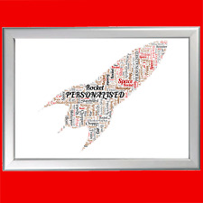 ROCKET WORD ART PRINT Personalised Custom Gift Keepsake Boy Him Man Mens Birt