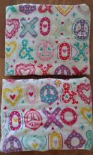 Set of 2 Pottery Barn Teen HUGS & KISSES XO Love Flannel STANDARD Pillow Shams