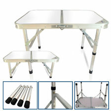 Portable Folding Table  Aluminum Frame Adjust Height Outdoor Picnic Camp Tables