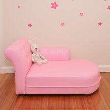 Kids PVC Leather Crystal Chaise Lounge in Pink