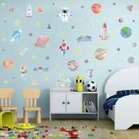 Space Wall Stickers Galaxy Astronaut Rocket Alien Room Decor Planet Wall Decals