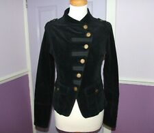 JANE NORMAN Black Velvet Military Style Gothic Steampunk Blazer size UK 6-8