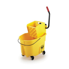 Plastic Mop Bucket w/ Wringer Rubbermaid Commercial Products WaveBrake 8.75 Gal.