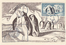 T.A.A.F. :1958 100F Penguins  Airmail SG 17 used on Maxi Card