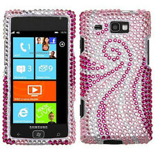 For Samsung Focus i677 Crystal Diamond BLING Case Snap Phone Cover Pink Tail