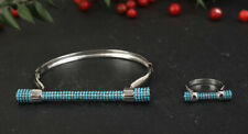 BLUE POINTS TURQUOISE .925 SOLID STERLING SILVER BANGLE BRACELET & RING SIZE 6