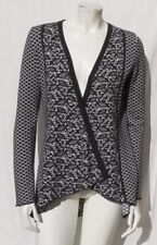BELLDINI Dark Gray White Intarsia Soft Cotton Open Drape Sweater Cardigan size M