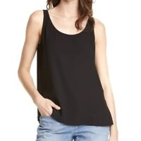 NWT Eileen Fisher Black 100% Silk Sleeveless Scoop Neck Top Size S