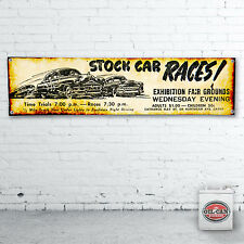 STOCK CAR RACING Banner / heavy duty for workshop, garage, man cave 1200x305mm