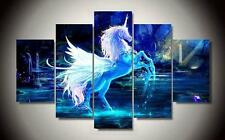 Pegasus Unicorn Wall Art Canvas With Frame Hot Printed Painting Decor Poster 5pc