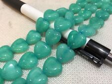 Heart shaped 12MM green Smooth Amazon gem beads 15""