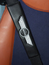 Seat Belt Harness Pads for Mini Cooper  Interior, Embroidered Black Leatherette
