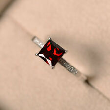 1.40 Ct Princess Garnet Diamond Engagement Ring 14K Solid White Gold Size 8