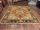 On Sale Genuine Hand Knotted Indo Oushak Heriz Geometric Area Rug Carpet 8x10,38