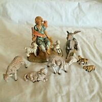 "7 Pc Lot  Vintage Fontanini 5"" scale  Depose Italy Shepherd Boy Lamb Sheep Nativ"