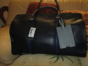 NWT TED BAKER LONDON BASKING PEBBLE LEATHER HOLDALL NAVY CARRY ON BAG $539