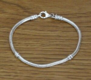 """Pandora 925 Silver 6.5"""" Snake Chain Bracelet with Oval Trigger/Lobster Clasp EUC"""
