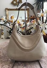 "Gucci 141641 beige  Canvas Leather ""Crest"" Hobo Shoulder Handbag Purse EUC"