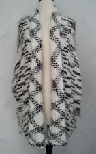 Evolution by Cyrus Cardigan Sweater Medium Black Gardenia White Open Front Fuzzy