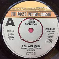 Solution - Give Some More / Chappaqua - Rocket Records ROKN-536 DEMO PROMO - VG+
