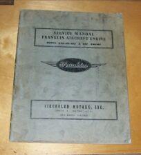 FRANKLIN MODEL 6A8-215-B8F & B9F AIRCRAFT ENGINE SERVICE MANUAL