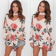Fashion Women's Ladies Summer Long Sleeve Shirt Loose Casual Blouse Tops T-Shirt