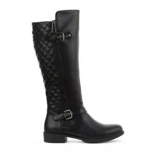 Ladies Long Knee High Biker Riding Flat Block Heel Riding Boots Black Size 3-9