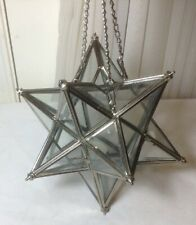 Vintage 12 Point Glass & Silver Metal Star Candle Holder