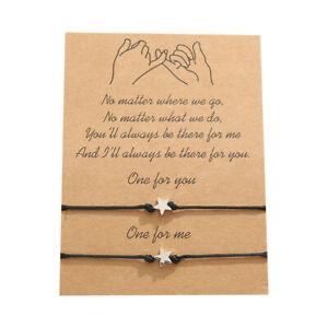 Best Friend Silver Star Friendship Promise Charm Card Wish You Me Bracelet Gift