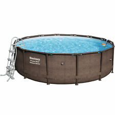 Bestway Power Steel™ Deluxe Stahlrahmen-Pool-Set Braun + Zubehör 427 x 107 cm