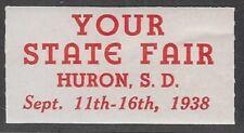 Usa Cinderella stamp: Huron, South Dakota State Fair, 1938 - dw885.7