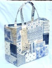 Dee's Handmade Totes- LARGE Bonded cotton tote bag 34cm x30cm x14cm - Blue china