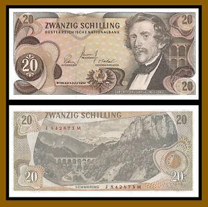 Austria 20 Shilling, 1967 (1968) P-142 Banknote (XF++)