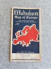 Vintage H. V. Kaltenborn Map Of Europe Pure Oil Company