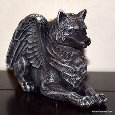 Gray Winged Gargoyle Wolf Dog Mythical Medieval Fantasy Votive Candle Holder