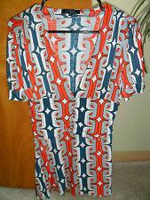 Women's T BAGS Printed Emire Waist Jersey Blouse Shirt Top - Size L