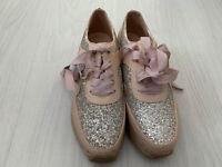 Lipsy, Uk 6, EU 39, Pink & Silver Glitter Espadrilles Lace-up Trainers, RRP £55