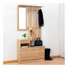 CTF Oak Colour Hall Tree Coat Stand Shoe Storage Unit /w Mirror Floating Rack