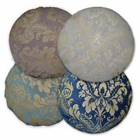 We+ Turquoise Blue Mauve Grey Flower Damask Jacquard Cotton Round Cushion Cover