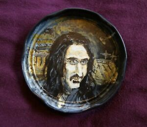 FRANK ZAPPA, Jam Jar Lid Portrait, Rock Legend, Outsider Folk Art by PETER ORR