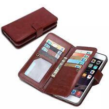 Apple iPhone 6 6S Multiple Card Slot Brown Leather Wallet Case Photo Pocket Bag
