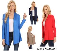 Womens Open Drape Cardigan Reg and Plus Size Cardigan Sweater Long Sleeves - USA