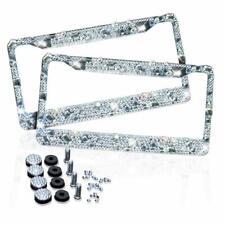 2 Silver Metal Diamond Bling Glitter License Plate Frame Cover Crystal RhineSton