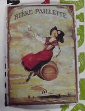 Ancienne Plaque Publicitaire PLV . Bière Paillette Alsace Alsacienne Costume
