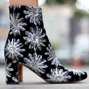 Marc Fisher Boho Glam Rock Velvet Sequin Star Booties Boots Sz 10 Saint Laurent