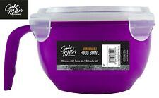 PURPLE 940ml MICROWAVABLE PLASTIC FOOD CONTAINER BOWL LUNCH SOUP HANDLE WITH LID