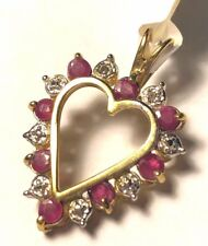 1 ctw genuine Ruby & Diamond 10k yellow gold Heart Pendant $385 New