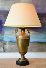 Elegant 19th C Regency Style Classical Urn Brass Slate Side Table Hall Lamp